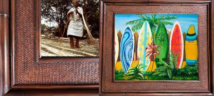 Jaquelynne Mauvais Surfboard FenceHawaii Rattan Frame Website