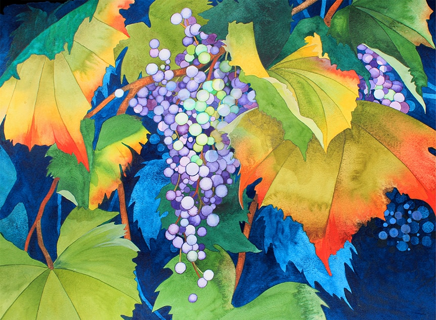 Autumn Leaves & Grapes