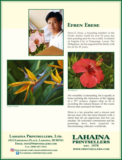 Lahaina Printsellers Artist Bio's Efren Erese