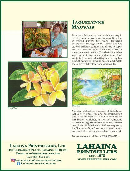 Lahaina Printsellers Artist Bio's Jaquelynne Mauvais